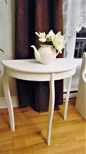 Wood side table, shabby chic