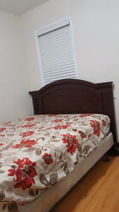 Queen size bed  with matress and frame . ASAP