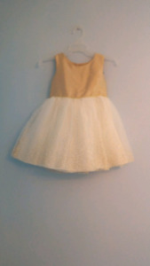 Gold topped infant dress.  Size, 12 Months
