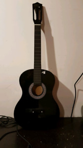 Acoustic guitar/used with stickers