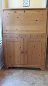 Small Knotty Pine Hutch Desk with drop-down front