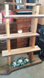 Hand made solid rough wood shelves
