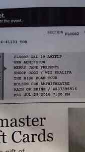 4 tickets to   Snoop Dogg and  Wiz Khalifa  The High Road Tour