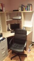 Desk with upper organizing unit & New office chair