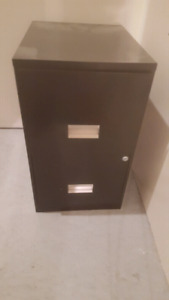 Black metal filing cabinet