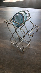 Wine rack with coasters and charms