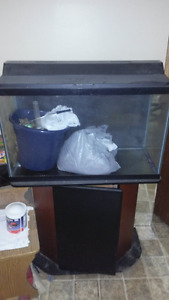 29 gallon fish tank with stand, lighted lid and filtration syste