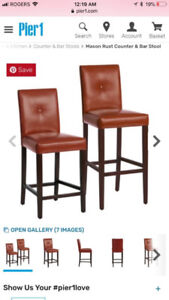 Counter height leather stools