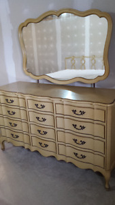 Dresser Vintage French Provincial and King bed headboard