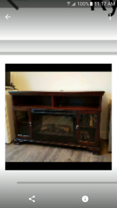 Fireplace tv stand with remote