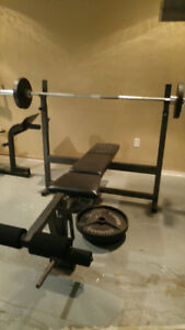 Olympic bench press with weights.