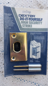 Dexter high security strike plate for deadbolt door lock