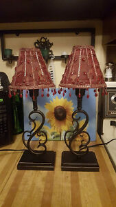 2 - Metal Base Beaded Lampshade Lamps
