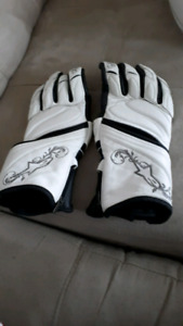 Ladies Alpinestars White Leather  Biker's Gloves