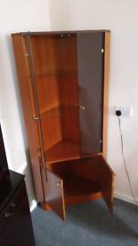 Vintage mid century Turnidge glazed teak corner display cabinet