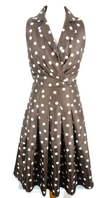 Jessica Howard UK 10 Brown Spotty Polka Fit Flare Sleeveless 50s Party Summer