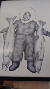 Inuit ink drawing 1975...original