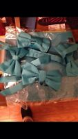 Teal bow ties and square pocket set for men tuxedos
