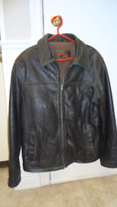 Men's Black  Leather Winter Jacket - Medium