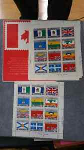 1979 CANADIAN PROVINCIAL FLAG STAMPS NEW 12 PC SHEET  17CENTS