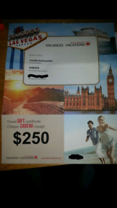 Air canada vacations gift certificate worth 250$ for 100$