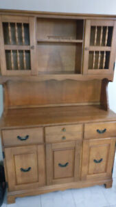 Solid Wood Hutch & Solid Oak Dining Table with Chairs