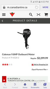 Brand new Coleman 9.8 outboard motor