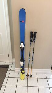 Free style skis size 137 with bindings and poles