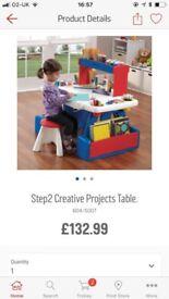 CHILDREN'S STEP2 CREATIVE PROJECT DESK & STOOLS
