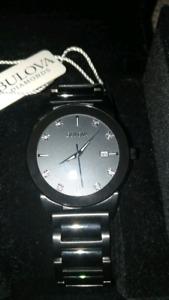 NWT Mens Bulova Diamond Faced Watch