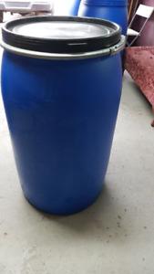 Large 55 gallon plastic rain/storage/shipping barrels