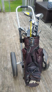 USED GOLD CLUBS WITH PULL CART