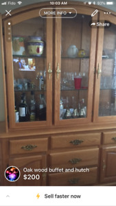Beautiful Solid Oak Wood Hutch with Showcase Light and Buffet!