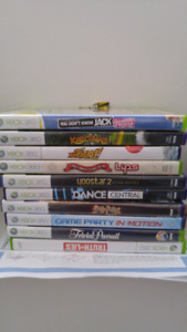 XBox 360 console, kinect, wire and wireless controand 10 game CD