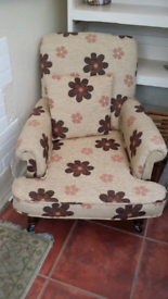 Retro flower pattern armchair with cushion, newly upholstered