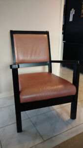 Leather and wood occasional chair. $40