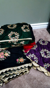 Velvet Partywear Shawls, Indian Dresses and Jewellery