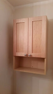 Maple coloured bathroom vanity medicine cabinet