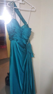Blue teal gown prom dress