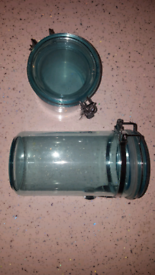2 blue plastic containers, kitchen