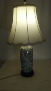 CHINESE PAINTED VASE TABLE LAMP with Shade