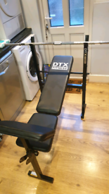 Weights bench w barbell, riser, bicep curl