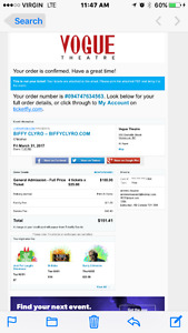 4X ELECTRONIC BIFFY CLYRO TICKETS @ THE VOGUE THEATER VANCOUVER.