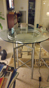 Round Glass Table & 2 Chairs: Designer