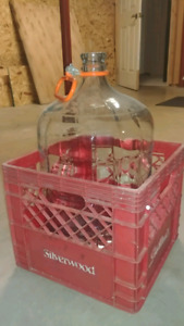 4 x 5 Gallon Glass Carboys with handle and carrying crate