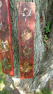 Rustic plasma cut copper and steel maple leafs on maple boards Cornwall Ontario image 4