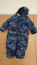 Baby Gap 3-6 months blue camo dinosaur snowsuit