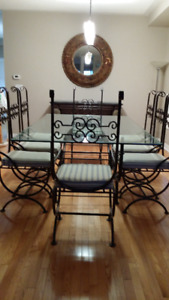Eight Chairs Glass Top Dining Table