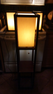 Lamps one  standing with shelf , 2 sidetable lights