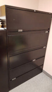 Office Furniture: 5 Drawer Filing Cabinet – Black